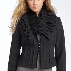 Hinge wool high ruffle neck jacket sz XS